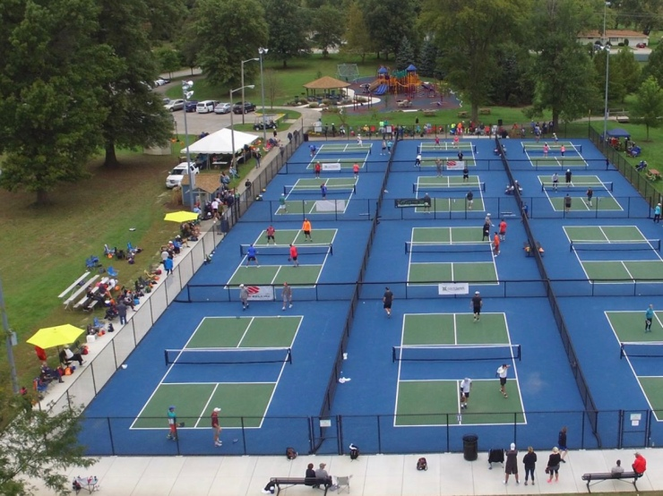 arial view of picklball courts
